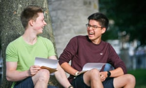 Benjamin Sheridan, 19, (left) and John Brown, 18, laugh as they share their A-level results at St Mary Redcliffe and Temple school, Bristol.