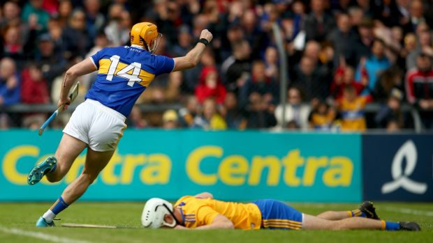 Séamus Callanan celebrates another goal – this time against Clare in Ennis. He is the record goalscorer – on 34 and counting – in Tipperary hurling history. Photograph: James Crombie/Inpho