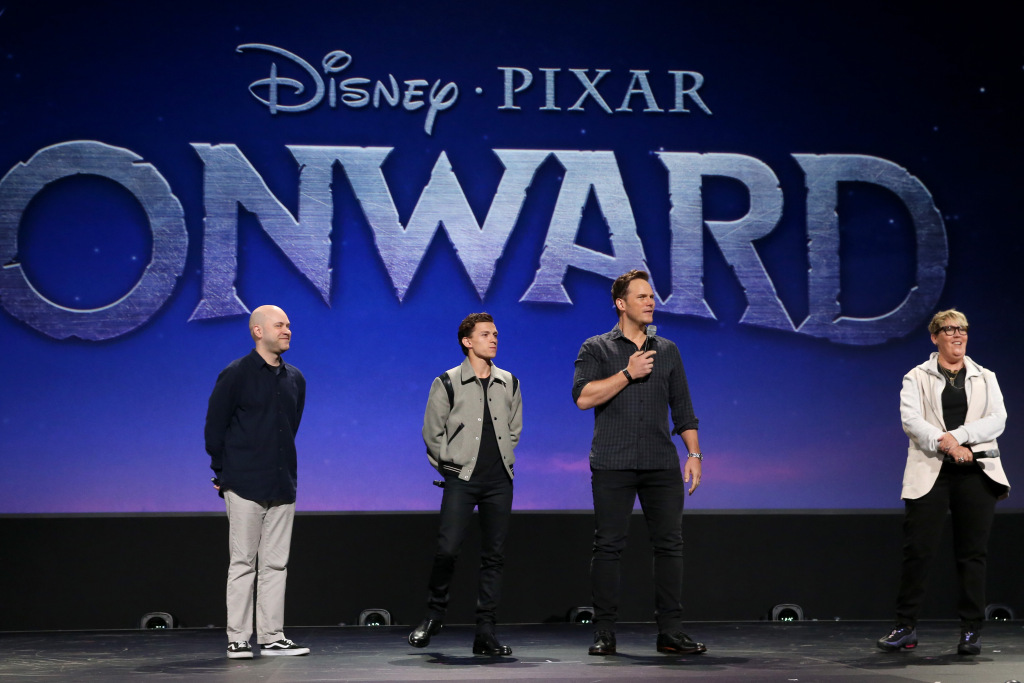ANAHEIM, CALIFORNIA - AUGUST 24: (L-R) Director Dan Scanlon, Tom Holland, Chris Pratt, and Producer Kori Rae of 'Onward' took part today in the Walt Disney Studios presentation at Disney's D23 EXPO 2019 in Anaheim, Calif. 'Onward' will be released in U.S. theaters on March 6, 2020. (Photo by Jesse Grant/Getty Images for Disney)