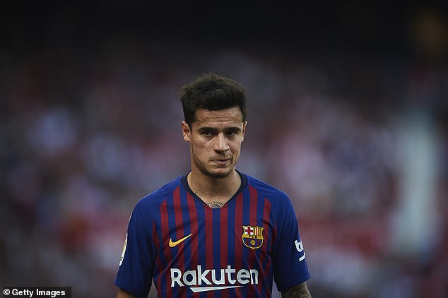 An offer of Coutinho (pictured), Ivan Rakitic and Nelson Semedo PLUS £93m might satisfy PSG