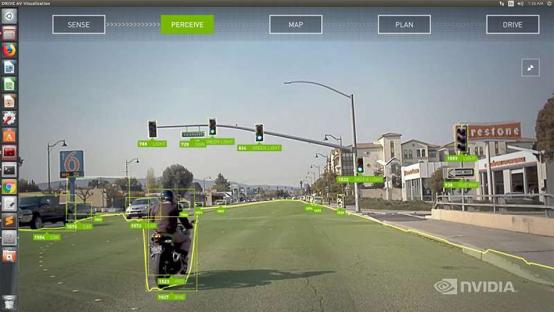Nvidia's autopilot can sense pedestrians and hazards.