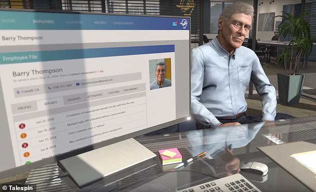 Capable of realistically engaging trainees in conversation and displaying appropriate emotions, poor virtual employee Barry Thompson gets the sack over and over again