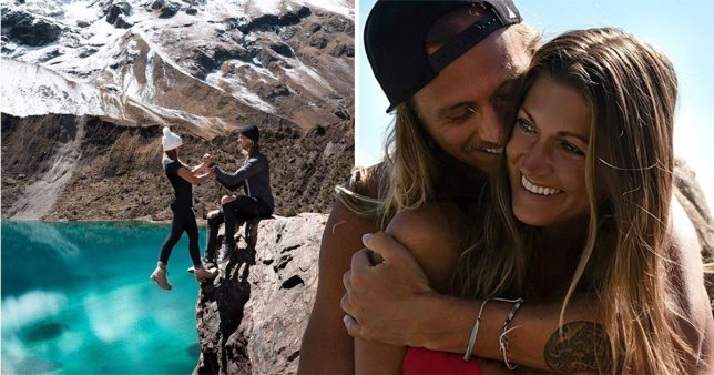 Couple seen hanging off a cliff in peru