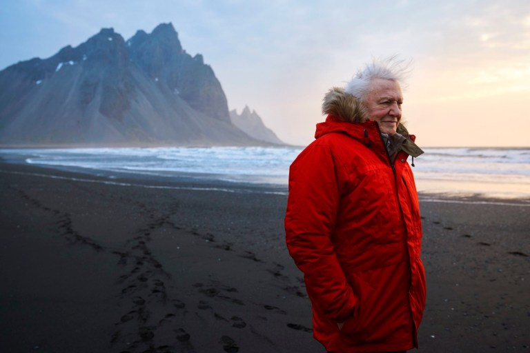 Sir David Attenborough on location filming Seven Worlds, One Planet