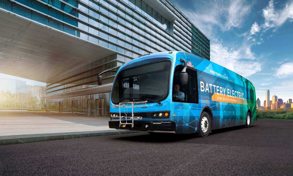 A Proterra Catalyst model electric bus.