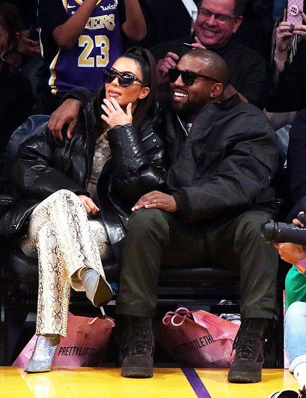 Kim Kardashian & Kanye West at Lakers - Cavs game