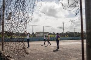 Students play basketball at José Eduardo Sánchez Afanador school in El Palmar, Venezuela.