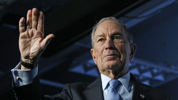 Democratic presidential candidate and former New York City Mayor Mike Bloomberg waves after speaking at a campaign event on Thursday.