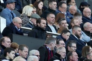 England manager Gareth Southgat, who's in the stands St James' Park.