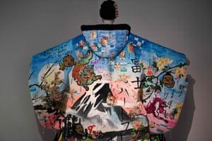 A kimono entitled 'Please let others sit comfortably' by Japanese artists Yokoyama Yumiko and Kadowaki Takahiro