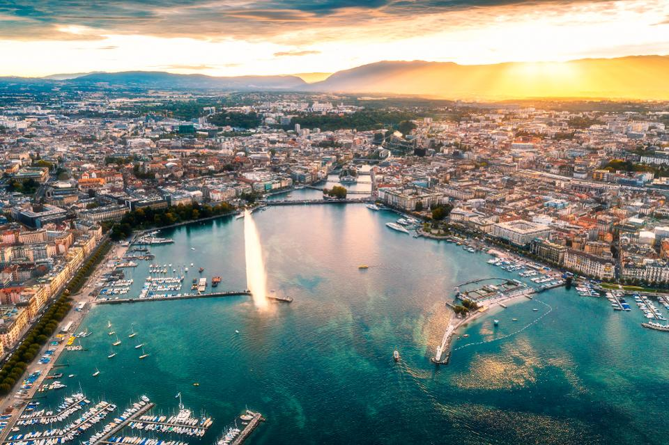 aerial view of Geneva city at sunset