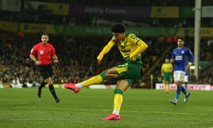Jamal Lewis of Norwich City scores the opening goal.
