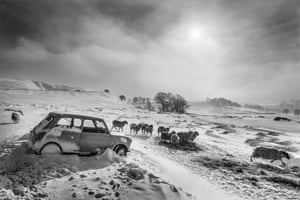 Abandoned car near Buxton, Derbyshire, 1979