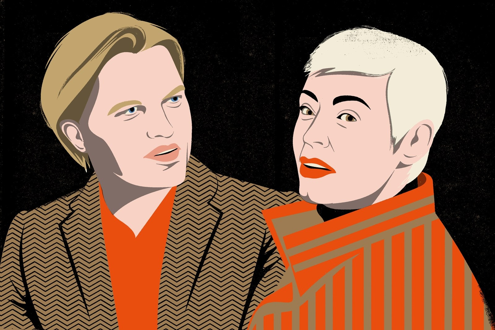 An illustration of Ronan Farrow and Rose McGowan