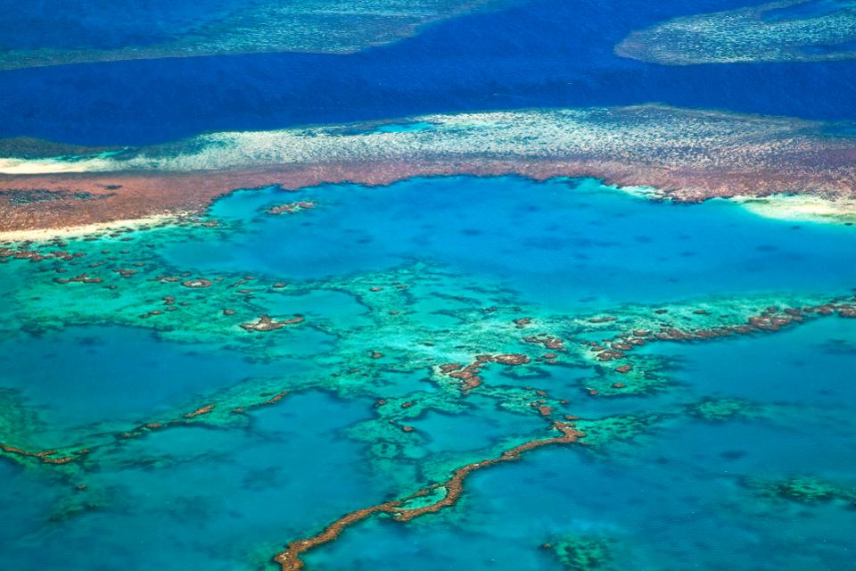 Aerial view of the Great Barrier Reef of the Whitsundays in the Coral sea