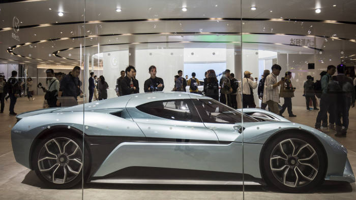 A NIOInc. EP9 electric sports car stands on display at the Auto Shanghai 2019 show in Shanghai, China, on Thursday, April 18, 2019. China's annual auto show, held inShanghaithis year, opened to the media on April 16 amid the specter of an electric-carbubbleand as the world's largest auto market trudges through its first recession in a generation. Photographer: Qilai Shen/Bloomberg