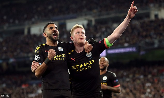 Kevin De Bruyne (R) scored the decisive goal as Man City beat Real Madrid on Wednesday