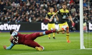 West Ham United's Sebastien Haller scores their second goal.