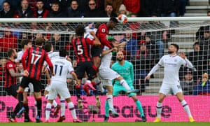 Bournemouth's Jefferson Lerma scores his side's first goal of the game.