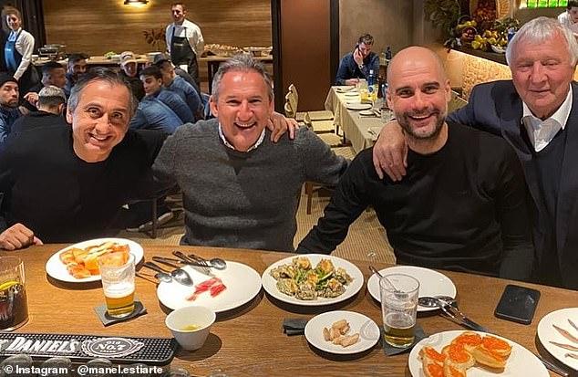 City manager Pep Guardiola with backroom staff member Manuel Estiarte (far-left), director of football Txiki Begiristain (left-centre) and club legend Mike Summerbee (far-right)