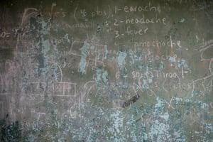 A chalkboard used in José Sánchez Afanador school in El Palmar, Venezuela.