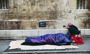 A rough sleeper in Oxford