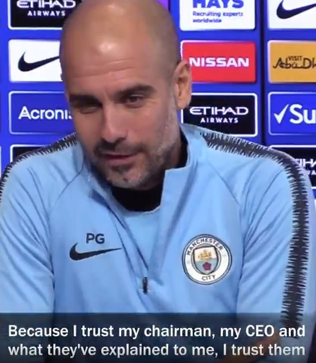 Guardiola was adamant and said he trusted what he had been told by the City club chiefs
