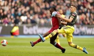 West Ham United's Michail Antonio scores their third goal.