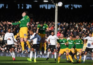 David Nugent of Preston North End (no 35) scores an own goal to give Fulham the lead.