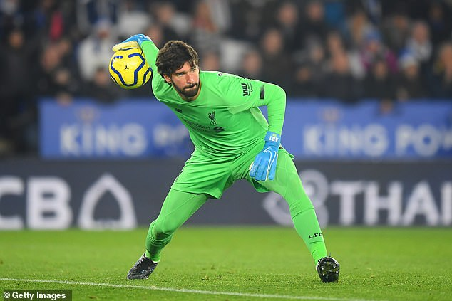 Liverpool goalkeeper Alissonis conceding on average one league goal every 244 minutes