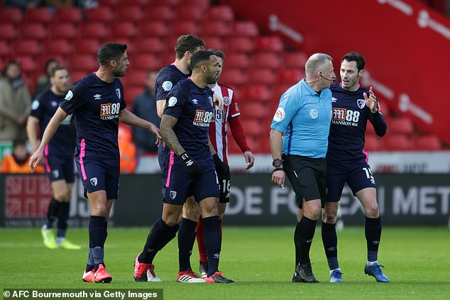 Dan Gosling has said ref Jon Moss made disrespectful comments to Bournemouth's players