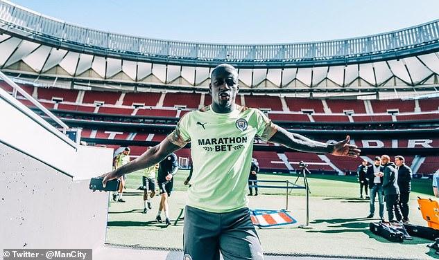 City left back Benjamin Mendy enjoyed the sunshine on Thursday at the home of Atletico