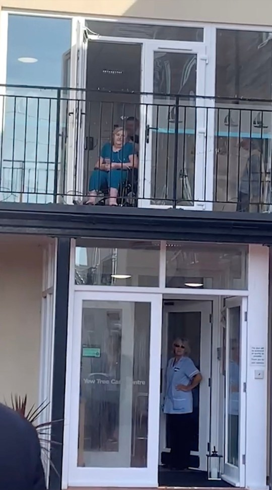 Maureen Taylor on the care home balcony