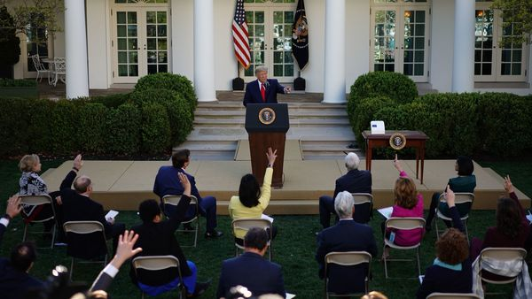 President Trump takes questions from reporters during a Coronavirus Task Force press briefing in the Rose Garden of the White House on Monday.