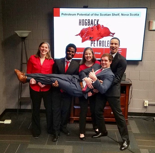 The first-place U of A team includes students Jah Johnson, Linnea Johnson, Dennis Mmasa, Russell Miller and Abigail Rhodes.
