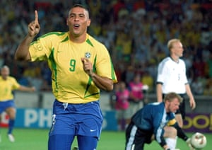 Ronaldo celebrates after one of his goals in the World Cup final in 2002.