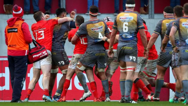 Tempers flare during the match. Photo: Ryan Byrne/Inpho
