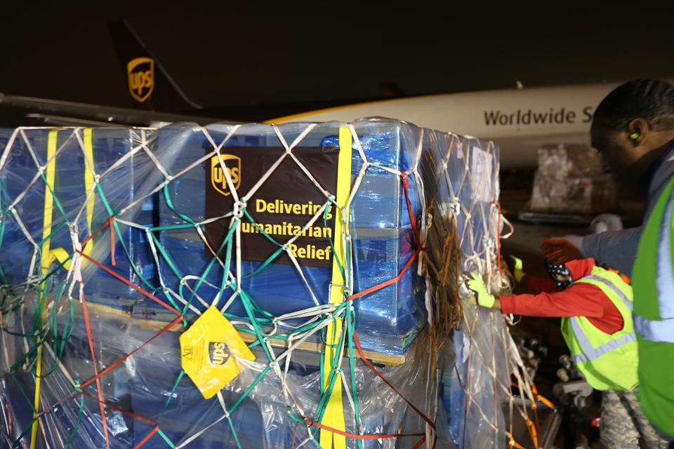 UPS loading medical supplies to be transported to Wuhan.