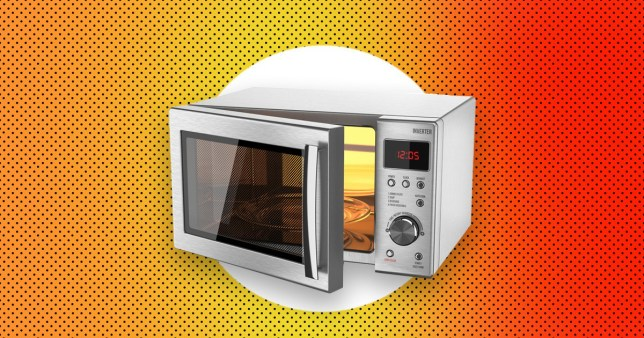 open microwave on an orange and red background