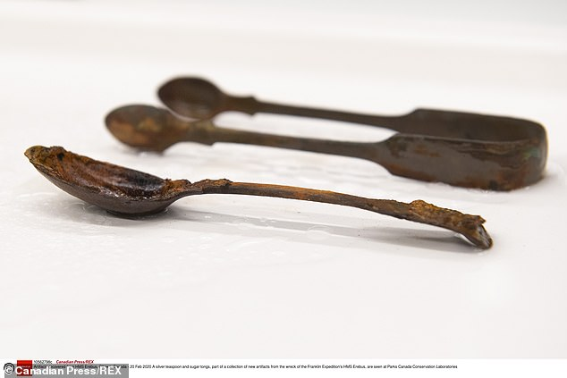 The team also found a preserved silver spoon and sugar tongs (pictured above), suggesting some senior members of the crew might have still made time for tea