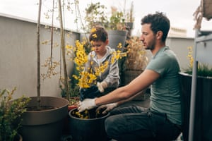 Gardening time with my daddyYoung man and his son taking care of their plants on the balcony of loft apartment