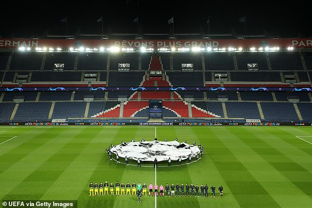The Champions League game between PSG and Borussia Dortmund was played in an empty stadium at the Parc des Princes in Paris