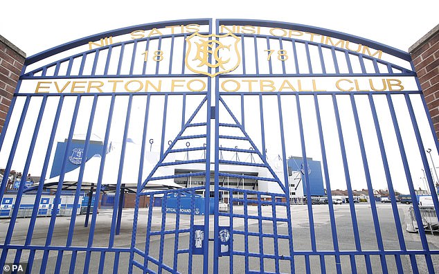 The locked gates at Everton's Goodison Park stadium with football suspended for some time