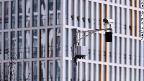 A video surveillance camera is pictured at the Novomoskovsky multipurpose medical center for patients suspected of the coronavirus infection symptoms, in Moscow.