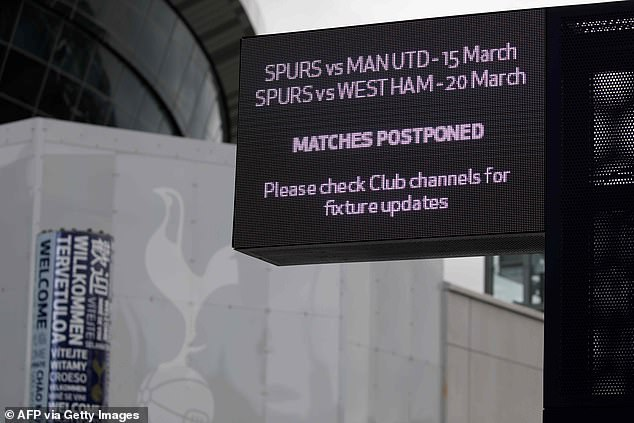 Tottenham's fixtures have been cancelled with the Premier League currently suspended