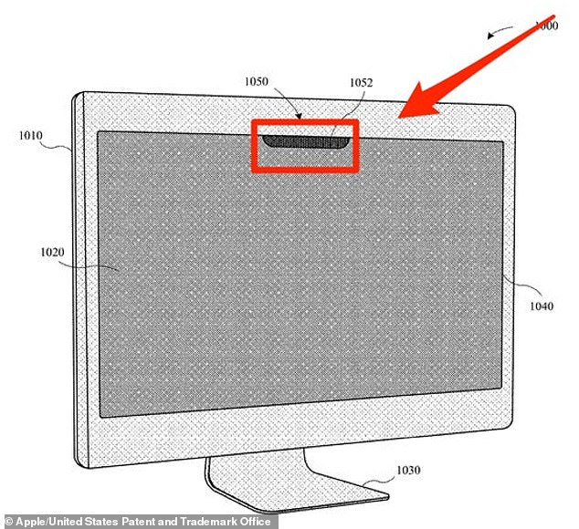 Images in the document show a 'notch' at the top of the screen, which is similar to that on an iPhone that houses the facial recognition technology. The biometric system could make its way to both the Macbook and a standalone Mac monitor