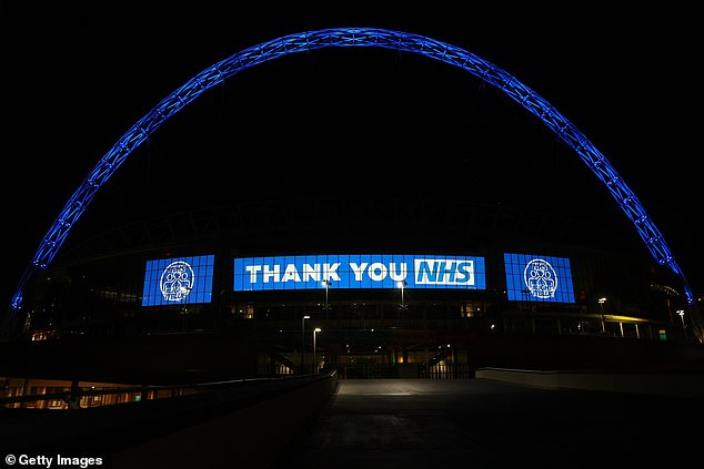 Wembley Stadium illuminated in blue as a thank you to NHS workers last Thursday night