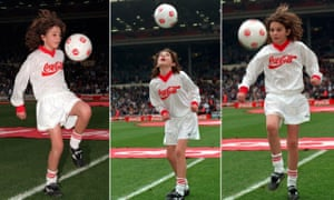 Sonny Pike demonstrates his skills at Wembley before the 1996 League Cup final.