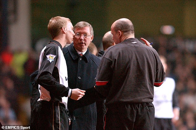 Chadwick also revealed the time Sir Alex Ferguson (centre) fined him for a Christmas night out