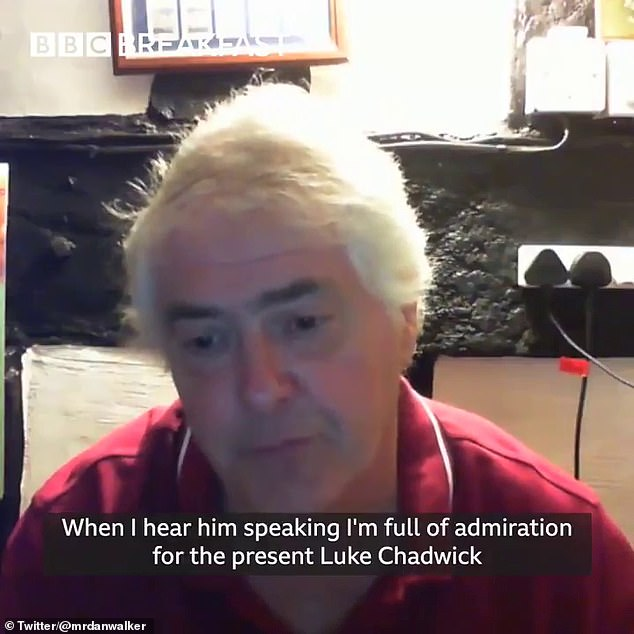 Hancock said he is 'full of admiration for the present Luke Chadwick' on BBC Breakfast